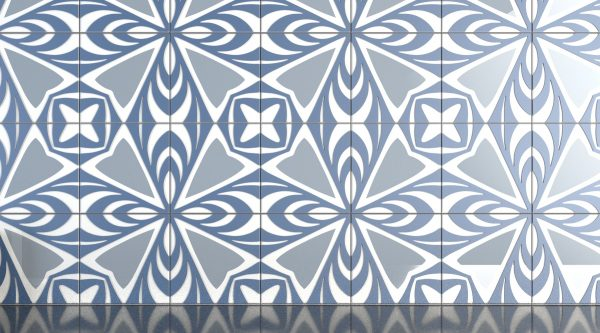 leaf pattern decortive glass tile blue gray 3