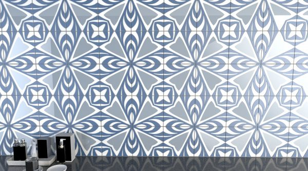 leaf pattern decortive glass tile- gray and blue